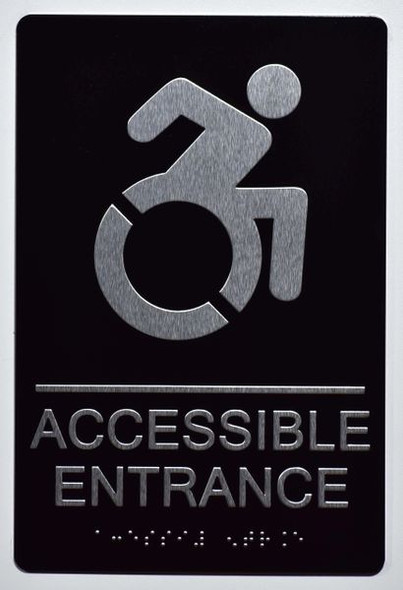 Accessible Entrance Directional Sign -Tactile Signs Tactile Signs   (ALUMINUM SIGNS) THE SENSATION LINE Ada sign