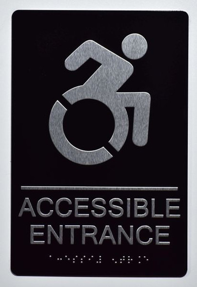 Accessible Entrance Directional Sign -Tactile Signs Tactile Signs   (ALUMINUM SIGNS) THE SENSATION LINE  Braille sign