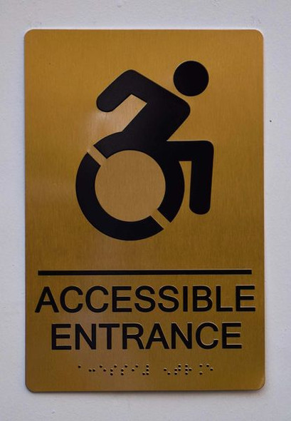 Accessible Entrance Directional Sign Gold