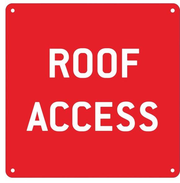 ROOF ACCESS SIGN- RED ALUMINUM (ALUMINUM SIGNS)
