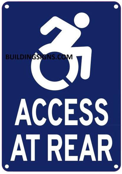 ACCESS AT REAR SIGN- - The Pour Tous Blue LINE