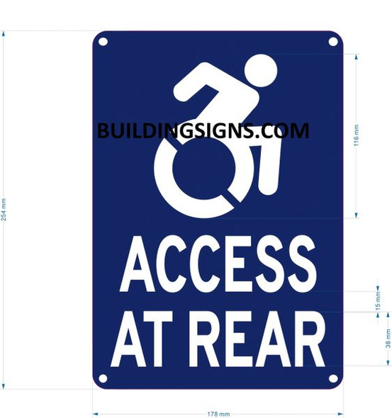 ACCESS AT REAR Signage- - The Pour Tous Blue LINE