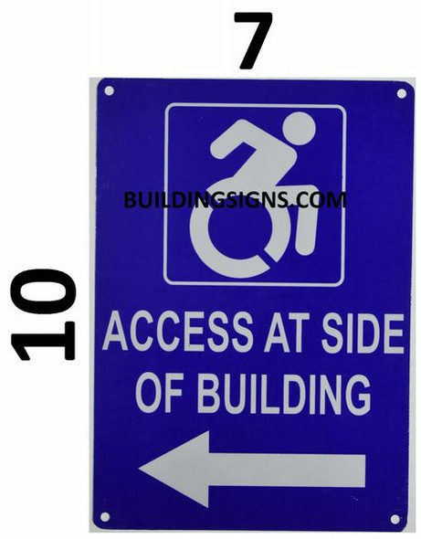 ACCESS AT LEFT SIDE OF BUILDING Signage-  The Pour Tous Blue LINE