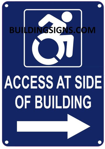 ACCESS AT RIGHT SIDE OF BUILDING SIGN