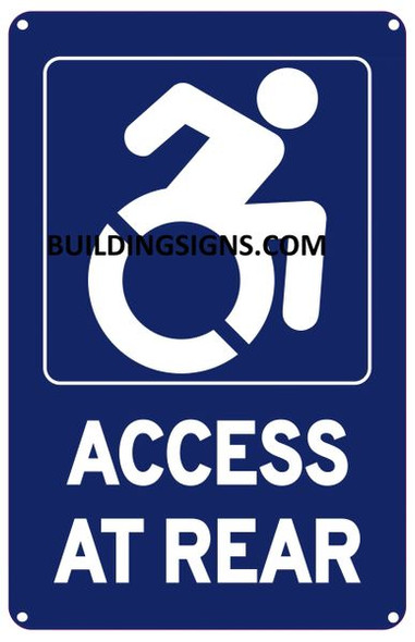 ACCESS AT REAR SIGN- The Pour Tous Blue LINE