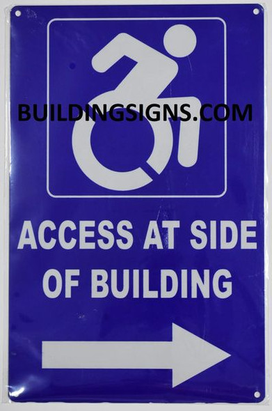 ACCESS AT RIGHT SIDE OF BUILDING Signage- The Pour Tous Blue LINE