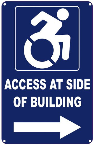 ACCESS AT RIGHT SIDE OF BUILDING SIGN- The Pour Tous Blue LINE