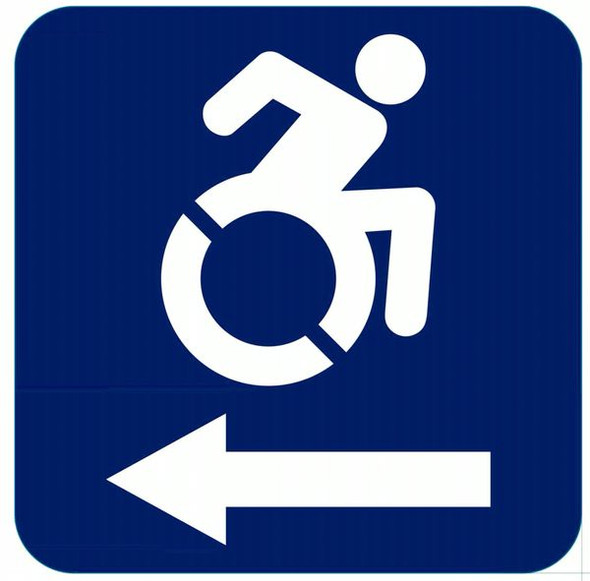 ACCESSIBLE LEFT SIGN- The Pour Tous Blue LINE