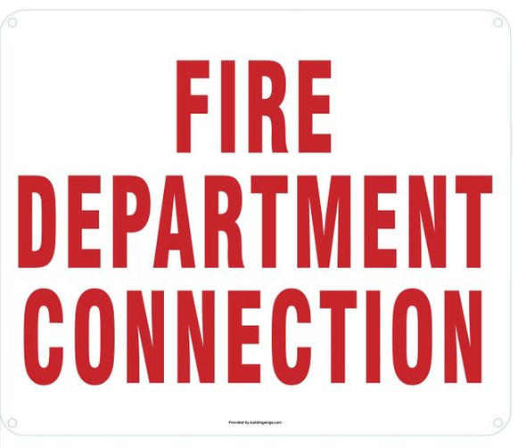 WHITE FIRE DEPARTMENT CONNECTION SIGN