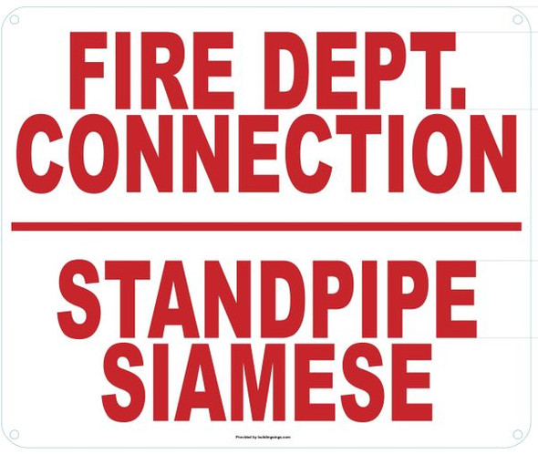 FIRE DEPARTMENT CONNECTION STANDPIPE SIAMESE SIGN