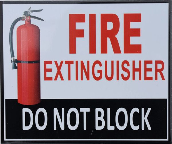 FIRE EXTINGUISHER DO NOT BLOCK Dob SIGN