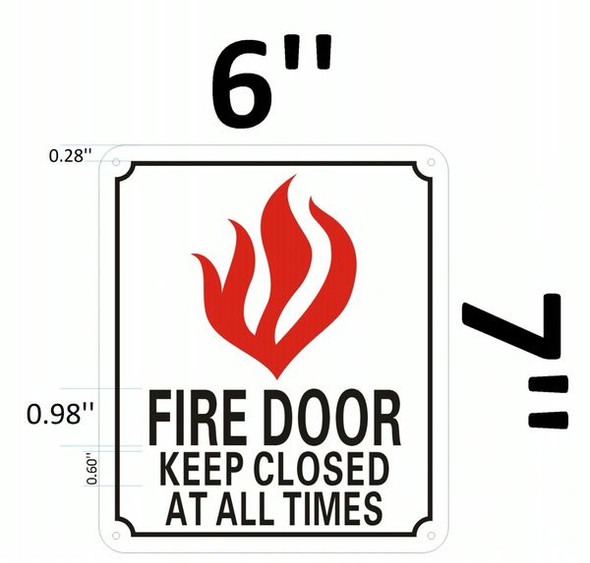 FIRE DOOR KEEP CLOSED AT ALL TIMES SIGN HPD SIGN