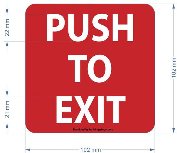 PUSH TO EXIT HPD SIGN