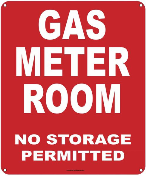 GAS METER ROOM NO STORAGE PERMITTED SIGN
