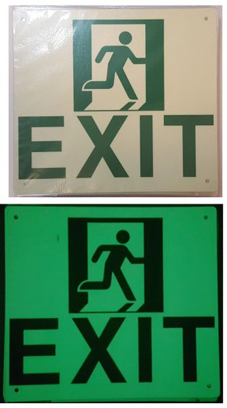 "PHOTOLUMINESCENT EXIT Signage/ GLOW IN THE DARK ""EXIT"" Signage HEAVY DUTY"