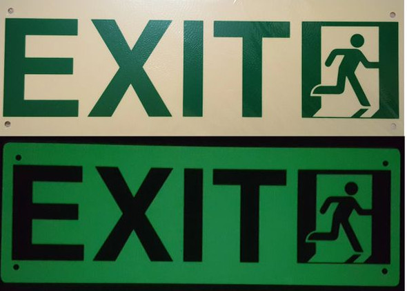 "Photoluminescent ""EXIT"" Signage (Aluminium, heavy duty/ EGRESS DIRECTION Signage"