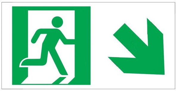 "GLOW IN THE DARK HIGH INTENSITY SELF STICKING PVC GLOW IN THE DARK SAFETY GUIDANCE Sign - ""EXIT"" SignWITH RUNNING MAN AND DOWN RIGHT ARROW (GLOWING EGRESS DIRECTION Sign GREEN)"