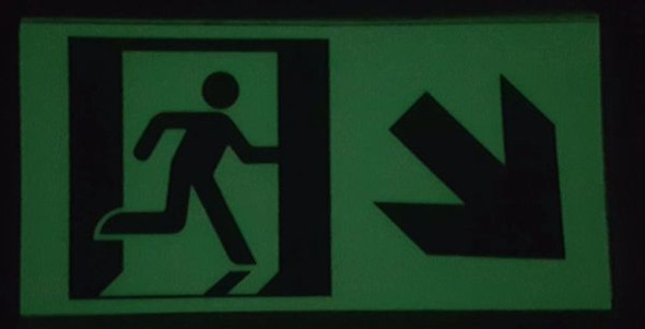 "GLOW IN THE DARK HIGH INTENSITY SELF STICKING PVC GLOW IN THE DARK SAFETY GUIDANCE Signage - ""EXIT"" SignageWITH RUNNING MAN AND DOWN RIGHT ARROW (GLOWING EGRESS DIRECTION Signage GREEN)"