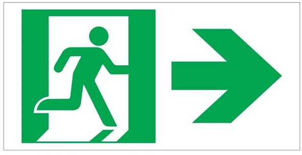 "GLOW IN THE DARK HIGH INTENSITY SELF STICKING PVC GLOW IN THE DARK SAFETY GUIDANCE Sign - ""EXIT"" SignWITH RUNNING MAN AND RIGHT ARROW (GLOWING EGRESS DIRECTION Sign GREEN)"