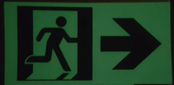"GLOW IN THE DARK HIGH INTENSITY SELF STICKING PVC GLOW IN THE DARK SAFETY GUIDANCE Signage - ""EXIT"" SignageWITH RUNNING MAN AND RIGHT ARROW (GLOWING EGRESS DIRECTION Signage GREEN)"
