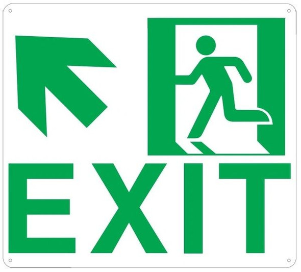 "PHOTOLUMINESCENT EXIT Sign/ GLOW IN THE DARK ""EXIT"" Sign(ALUMINUM Sign WITH UP LEFT ARROW AND RUNNING MAN/ EGRESS DIRECTION Sign"