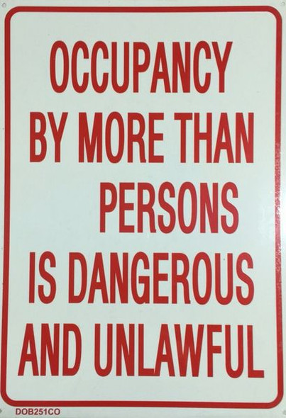 MAXIMUM OCCUPANCY __ PERSONS Sign ALUMINUM