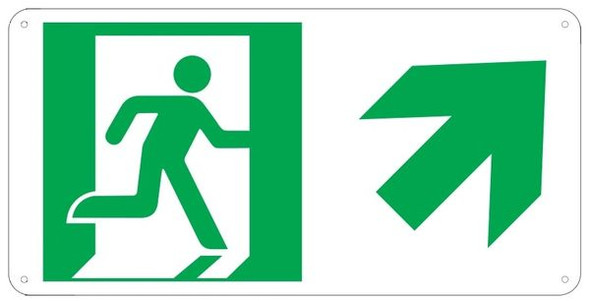 "PHOTOLUMINESCENT EXIT Sign/ GLOW IN THE DARK ""EXIT"" Sign(ALUMINUM Sign WITH RIGHT UP ARROW AND RUNNING MAN/ EGRESS DIRECTION Sign"