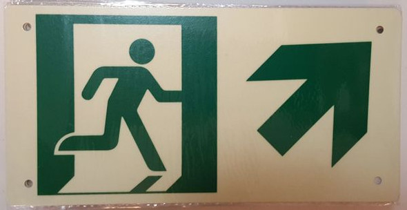 "PHOTOLUMINESCENT EXIT Signage/ GLOW IN THE DARK ""EXIT"" Signage(ALUMINUM Signage WITH RIGHT UP ARROW AND RUNNING MAN/ EGRESS DIRECTION Signage"
