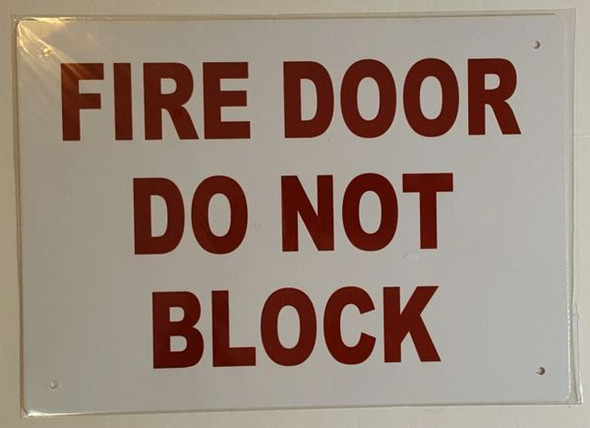 FIRE DOOR DO NOT BLOCK SIGN WHITE