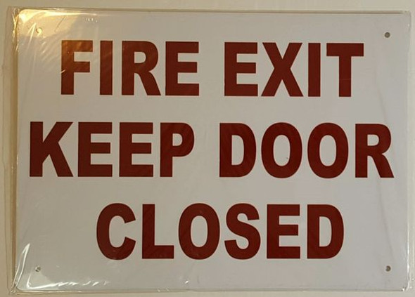 FIRE EXIT KEEP DOOR CLOSED SIGN WHITE