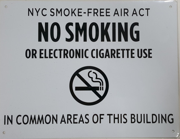 No Smoking - In Common Areas Of This Building Any Violators Will Be Fined Or Prosecuted, NYC Smoke-Free Air Act Local Law
