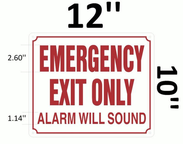 EMERGENCY EXIT ONLY ALARM WILL SOUND SIGN  for Building