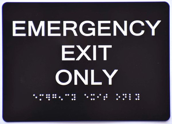 Emergency EXIT ONLY SIGN ADA Tactile Signs   Ada sign