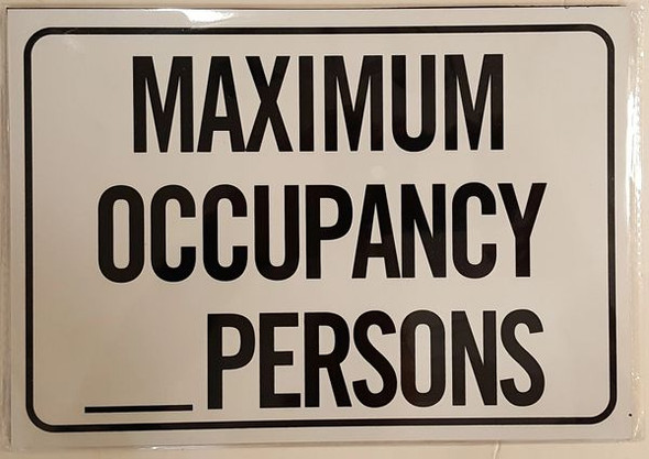 MAXIMUM OCCUPANCY PERSONS HPD SIGN