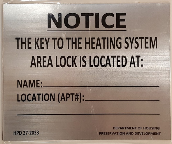KEY TO THE HEATING SYSTEM SIGN HPD NYC