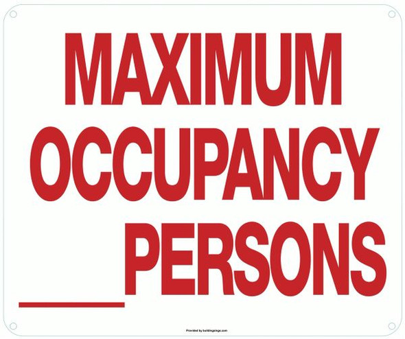 MAXIMUM OCCUPANCY _ PERSONS SIGN