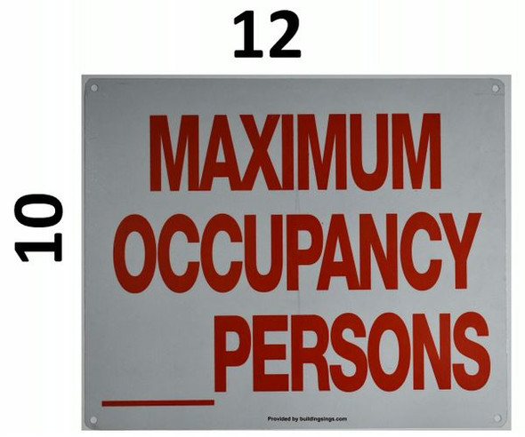 MAXIMUM OCCUPANCY _ PERSONS Signage