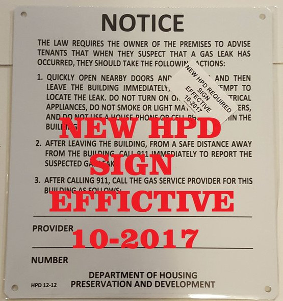 HPD REQUIRED SIGNS