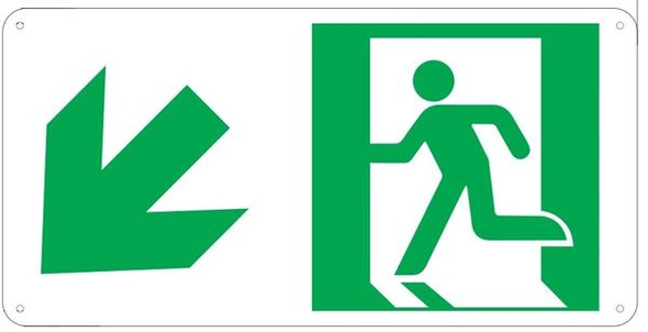 "PHOTOLUMINESCENT EXIT Sign/ GLOW IN THE DARK ""EXIT"" Sign(ALUMINUM Sign WITH LEFT DOWN ARROW AND RUNNING MAN/ EGRESS DIRECTION Sign"