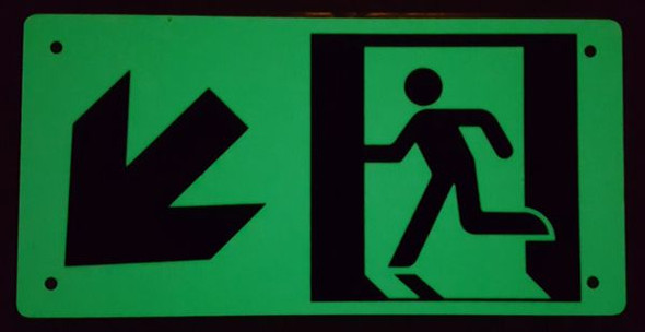 "PHOTOLUMINESCENT EXIT Signage/ GLOW IN THE DARK ""EXIT"" Signage(ALUMINUM Signage WITH LEFT DOWN ARROW AND RUNNING MAN/ EGRESS DIRECTION Signage"