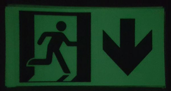"GLOW IN THE DARK HIGH INTENSITY SELF STICKING PVC GLOW IN DARK GUIDANCE SAFETY Signage - ""EXIT"" SignageWITH RUNNING MAN AND DOWN ARROW (GLOWING EGRESS DIRECTION Signage"