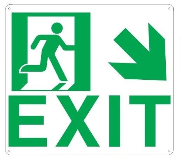 "PHOTOLUMINESCENT EXIT Sign/ GLOW IN THE DARK ""EXIT"" Sign(ALUMINUM SignWITH DOWN RIGHT ARROW AND RUNNING MAN/ EGRESS DIRECTION Sign"