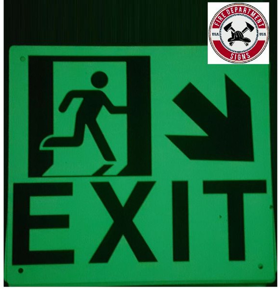 "PHOTOLUMINESCENT EXIT Signage/ GLOW IN THE DARK ""EXIT"" Signage(ALUMINUM SignageWITH DOWN RIGHT ARROW AND RUNNING MAN/ EGRESS DIRECTION Signage"