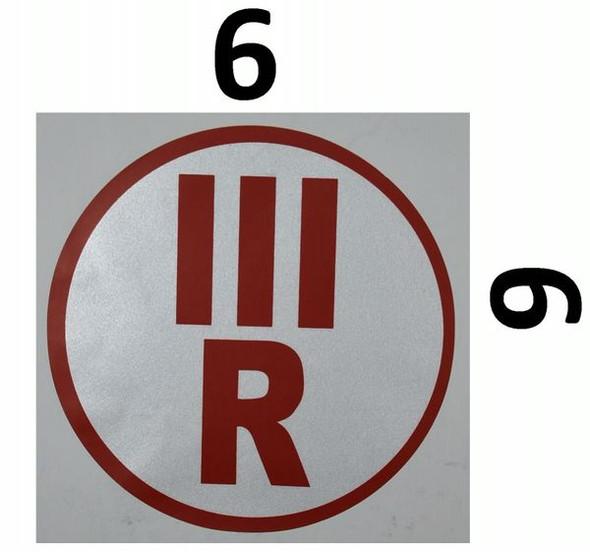 ROOF TRUSS IDENTIFICATION SIGNAGE-TYPE III (STICKER, CIRCLE ) WHITE