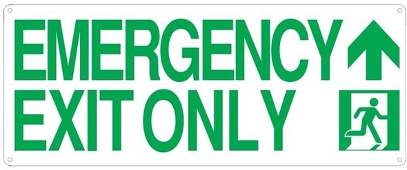 "PHOTOLUMINESCENT EMERGENCY EXIT ONLY SIGN HEAVY DUTY / GLOW IN THE DARK ""EXIT"" SIGN"