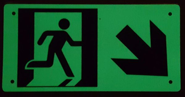 "PHOTOLUMINESCENT EXIT Signage/ GLOW IN THE DARK ""EXIT"" Signage(ALUMINUM Signage WITH RIGHT DOWN ARROW AND RUNNING MAN/ EGRESS DIRECTION Signage"
