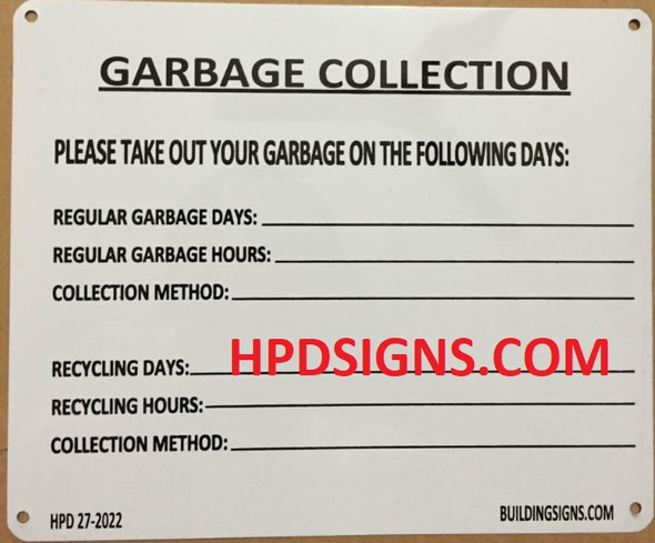 NYC HPD GARBAGE COLLECTION SIGN