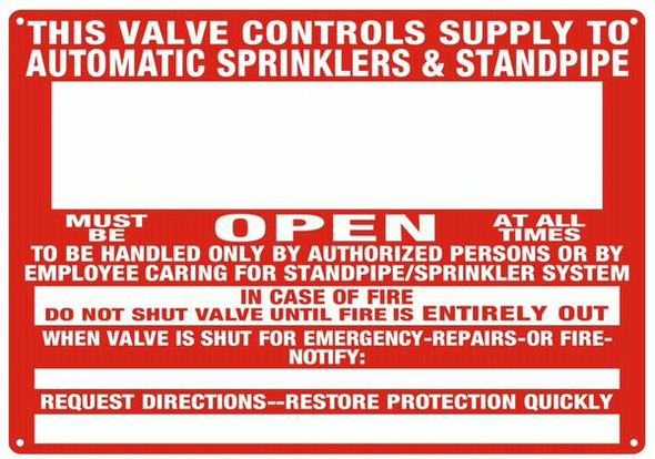 RED THIS VALVE CONTROLS SUPPLY TO AUTOMATIC SPRINKLERS & STANDPIPE HPD SIGN