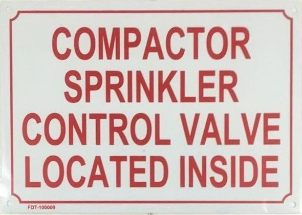 COMPACTOR SPRINKLER CONTROL VALVE LOCATED INSIDE SIGN WHITE