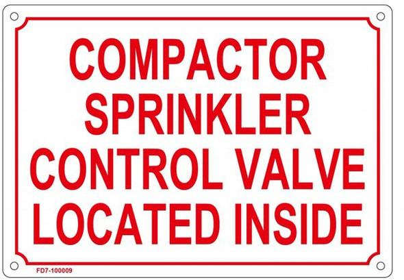 COMPACTOR SPRINKLER CONTROL VALVE LOCATED INSIDE SIGN